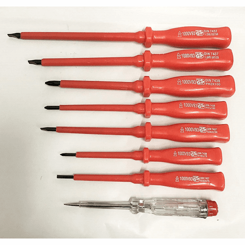 WennoW 8pc. INSULATED Screwdriver And Mains Tester Set Electricians Screwdriver Set