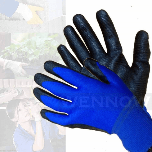 wennow Lot of 10 Medium Blue Rubber Coated Comfortable Flexible Breathable Work Glove