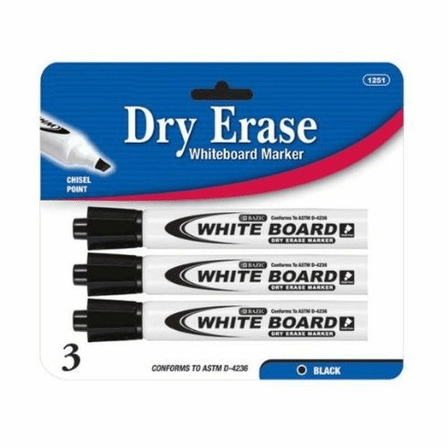 "Wennow ""Black Chisel Tip Dry-Erase Markers (3/Pack)"