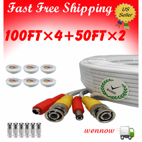 WH100ft�WH50ft�Power&Video Cable for Security CCTV Use for/Zmodo/S