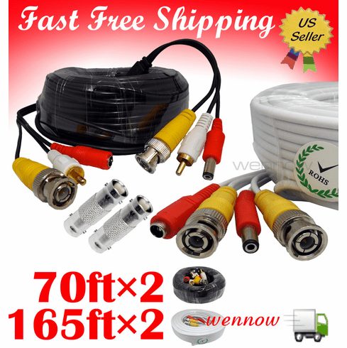 WH165ft+BK70ft×2 power & Video Cable for Security CCTV use/Zmodo/Swann