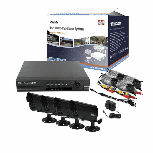 ZMODO 4 CH CCTV Security IR Camera DVR System 500GB  PKD-DK40205-500GB kit