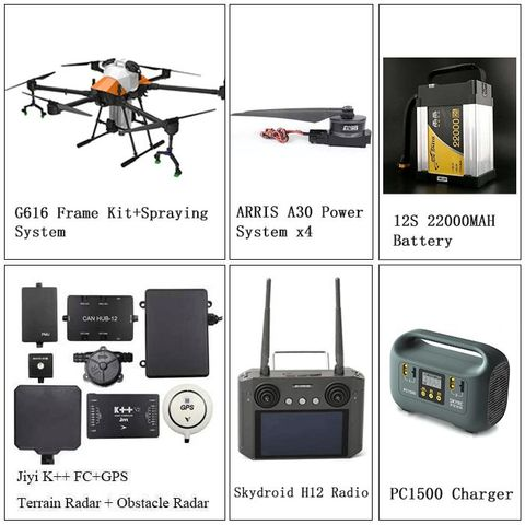 ARRIS G616 6 AXIS 16L UAV Agricultural Spraying Drone Complete Version JIYI K++ FC SIYI H12 Remote Controller Battery Charger