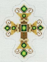Gold Cross with Green Jewels