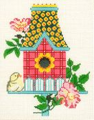 Pink Birdhouse w/ Floral Roof