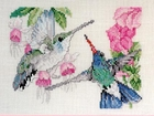 Two Hummingbirds & Fuschias