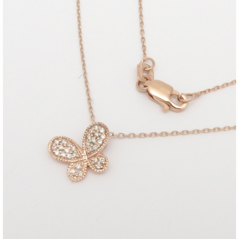 14K ROSE GOLD BUTTERFLY PENDANT NECKLACE 18 inch CHAIN .08CT