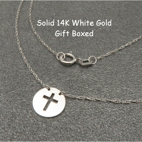 14K WHITE GOLD CROSS DISC NECKLACE