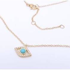14K Yellow Gold Evil Eye Turquoise Diamond Pendant Necklace