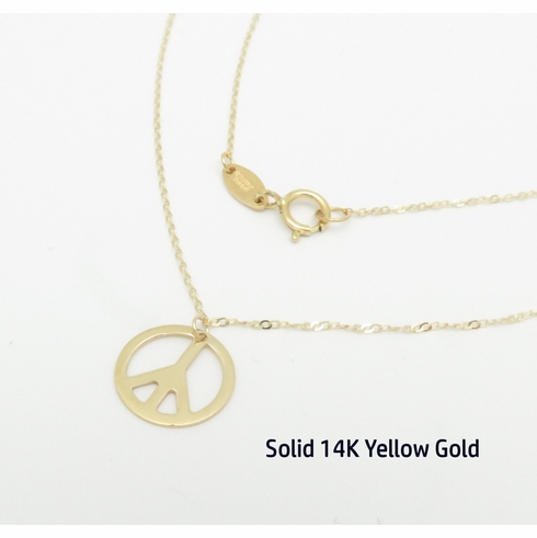 14K Yellow Gold Peace Sign Pendant Necklace 17inches