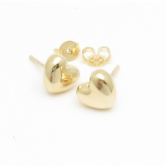 14K Yellow Gold Puffy Heart Earrings 8mm in width
