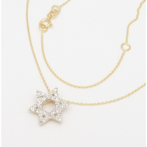 14K YELLOW GOLD STAR OF DAVID DIAMOND NECKLACE 16-18 inch Chain .09CT