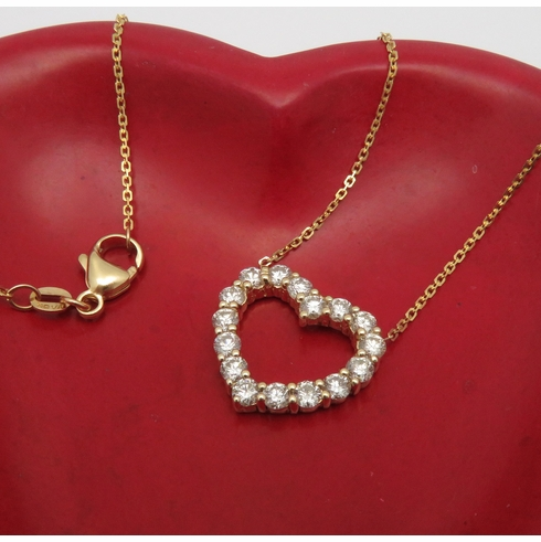 Large Diamond Heart Necklace 2.25ct+ 14K Yellow Gold
