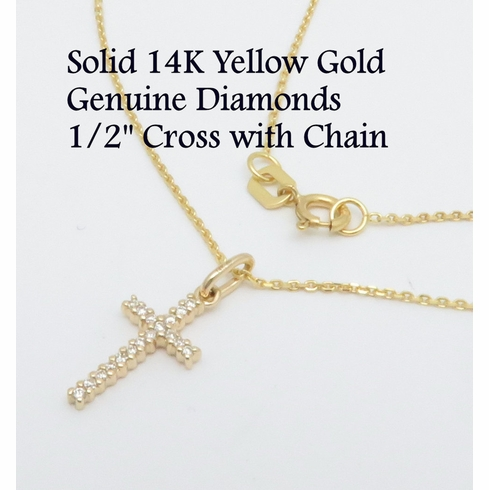 Solid Genuine 14K Diamond Cross Pendant Necklace 1/2inch VS2-SI1