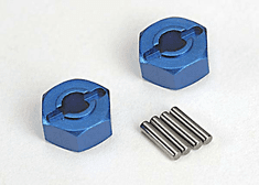 1654X - Wheel hubs, hex (blue-anodized, lightweight aluminum) (2)/ axle pins(4)