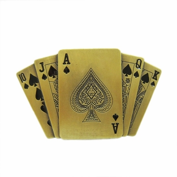 New Jean's Friend Original Bronze Plated Royal Flush Ace Spade Poker Lighter Belt Buckle