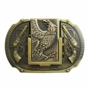 New Vintage Bronze Plated Eagle Guns Lighter Belt Buckle Gurtelschnalle Boucle de ceinture BUCKLE-LT013
