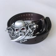 Jean's Friend New Leather Belt | Emo Gothic Skull Brown Studded Genuine Leather Belt