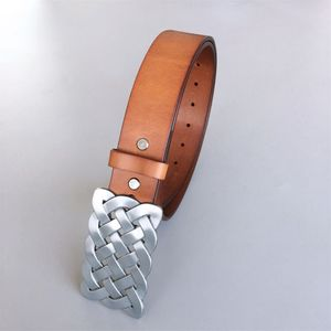 Keltic Knot Brown Genuine Leather Solid Real Leather Belt