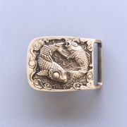 New Double Fishes Rectangle Solid Brass Belt Buckle Gift Box Package