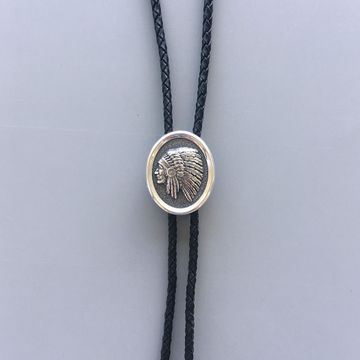 New Original Sterling Silver 925 Chief Bolo Tie With Leather Rope