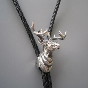 New Original Sterling Silver 925 Deer Head 3D Bolo Tie Necklace