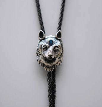 New Vintage Style Stainless Steel Blue Enamel Wolf Bolo Tie
