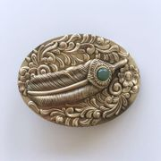 New Stone Western Flower Solid Brass Belt Buckle Gift Box Package