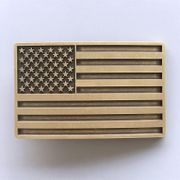 New Vintage Bronze Plated American USA Flag Belt Buckle