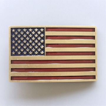 New Vintage Bronze Plated Enamel USA American Flag Belt Buckle