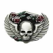 New Vintage Rose Skull Wing Belt Buckle Gurtelschnalle Boucle de ceinture