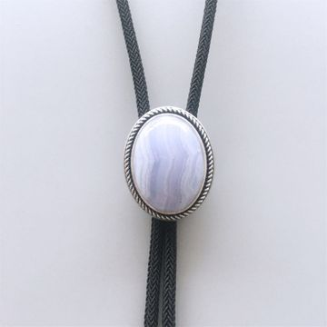 New Vintage Silver Plated Nature Blue Ripple Agate Stone Bolo Tie With Sky Systems Fiber Rope