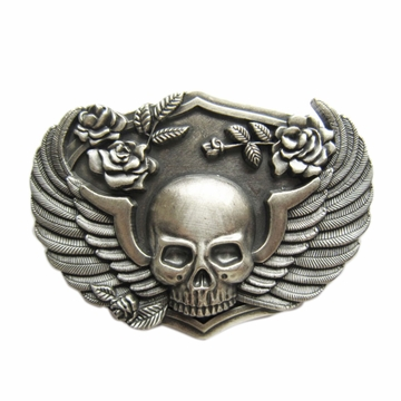 New Vintage Silver Plated Rose Skull Wing Belt Buckle Gurtelschnalle Boucle de ceinture