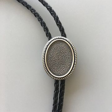 New Vintage Silver Plated Western Blank Oval Bolo Tie Leather Necklace