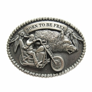 New Vintage Silver Plated Wolf Western Oval Belt Buckle Gurtelschnalle Boucle de ceinture Gift Box Package