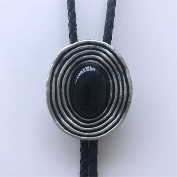 New Vintage Style Silver Plated Nature Black Obsidian Stone Bolo Tie
