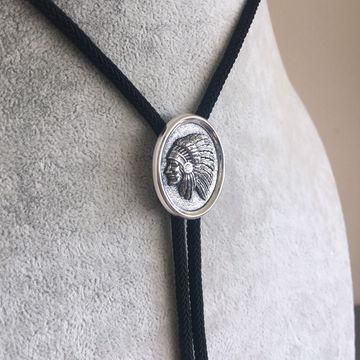 New Vintage Style Sterling Silver 925 Chief Bolo Tie With Sky Jewelry Fiber Rope