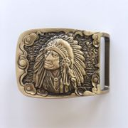 New Western Chief Cowboy Rectangle Solid Brass Belt Buckle