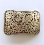 New Western Flower Southwest Rectangle Solid Brass Belt Buckle Gift Box Package