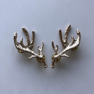 New Gold Plated Deer Long Horn Collar Tip Brooch 1 Pair With Screws