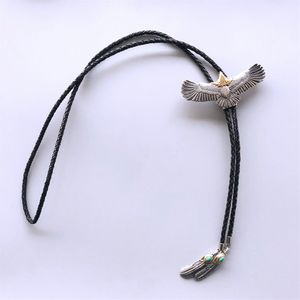New Original Stainless Steel Fly Eagle Bolo Tie Leather Necklace