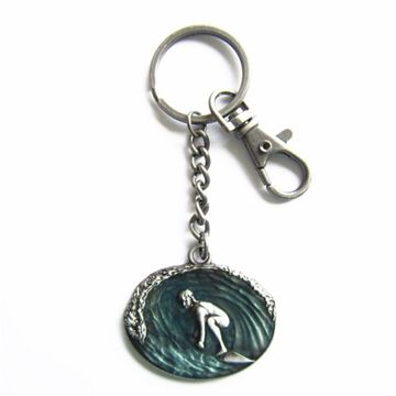 New Antique Surfing Surfboard Metal Charm Pendant Key Ring Key Chain