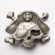 New Vintage Style Skull Bone Pirate Hat Eye Patch Belt Buckle BUCKLE-SK017AS