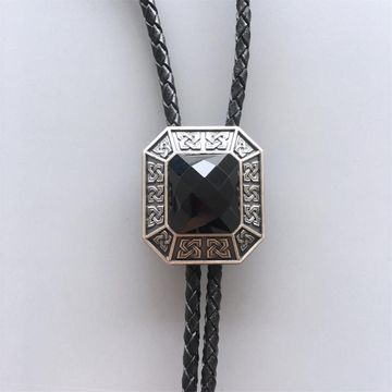 Original Vintage Silver Plated Black Agate Octagon Celtic Bolo Tie Leather Necklace