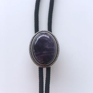 New Vintage Nature Brazil Amethyst Stone Bolo Tie Leather Necklace
