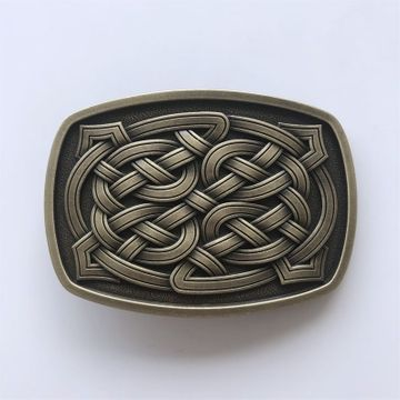 New Vintage Bronze Plated Cross Celtic Knot Rectangle Belt Buckle