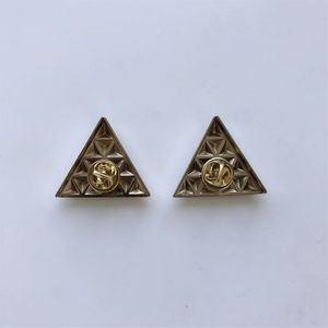 New Bright Silver Triangle Collar Tip Brooch 1 Pair With Screws