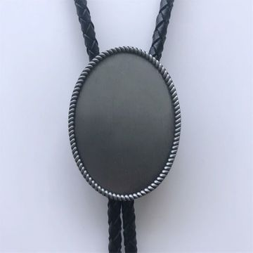 New Vintage Biker Chains Blank Oval Bolo Tie Leather Necklace
