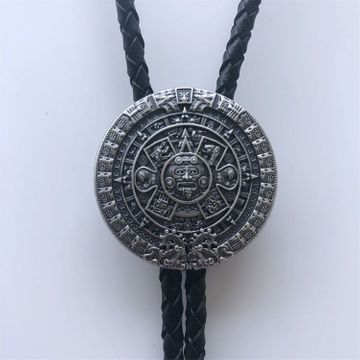 New Vintage Style Silver Plated Aztec Calendar Wedding Bolo Tie Leather Necklace