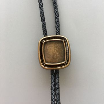 Original Antique Gold Plated Blank Rectangle Bolo Tie Leather Necklace